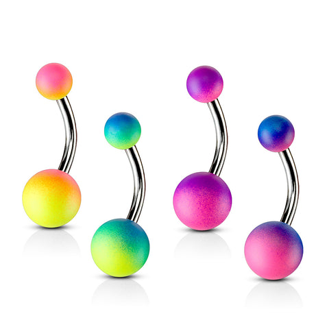 Basic Curved Barbell. High End Belly Rings. Tutti Frutti Rubber Ball Belly Rings