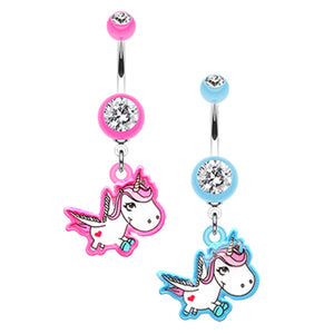 The Flying Unicorn Belly Bar - Dangling Belly Ring. Navel Rings Australia.