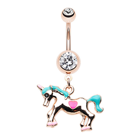 Dangling Belly Ring. Belly Bars Australia. CUTEass Unicorn Belly Dangle
