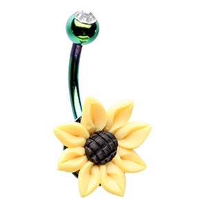 Farmers Field Sunflower Belly Bar - Fixed (non-dangle) Belly Bar. Navel Rings Australia.