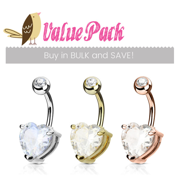 VALUE PACK 3 X Mixed Material Heart Solitaire Belly Bars - Basic Curved Barbell. Navel Rings Australia.