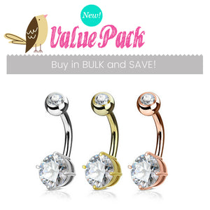 VALUE PACK 3 X Mixed Material Rounded Gem Solitaire Belly Bars - Basic Curved Barbell. Navel Rings Australia.