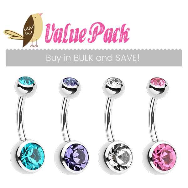 VALUE PACK 4 X Classique Gem Belly Bars - Basic Curved Barbell. Navel Rings Australia.