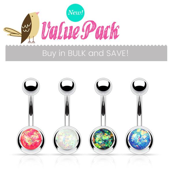 VALUE PACK 4 X Opal Gleam Belly Rings - Basic Curved Barbell. Navel Rings Australia.