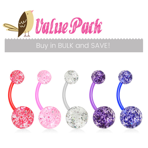 VALUE PACK 5 X Flex Glimmer with Glitter Belly Rings - Basic Curved Barbell. Navel Rings Australia.