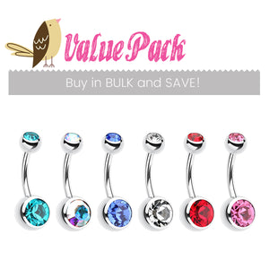 VALUE PACK 6 X Classique Gem Belly Bars - CHOOSE YOUR COLOURS! - Basic Curved Barbell. Navel Rings Australia.
