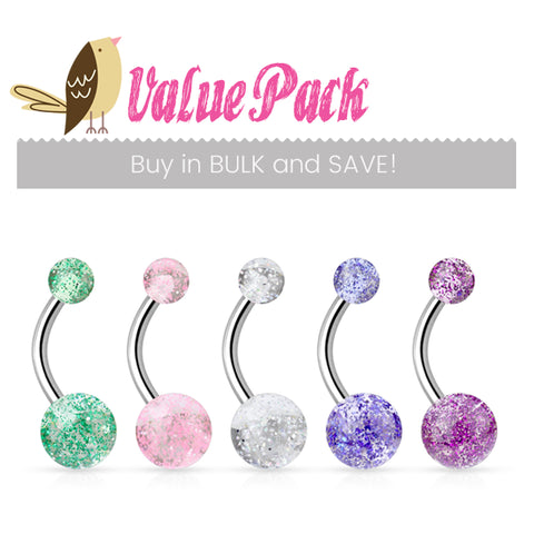 Basic Curved Barbell. Cute Belly Rings. VALUE PACK 5 X Glimmer with Glitter Belly Rings