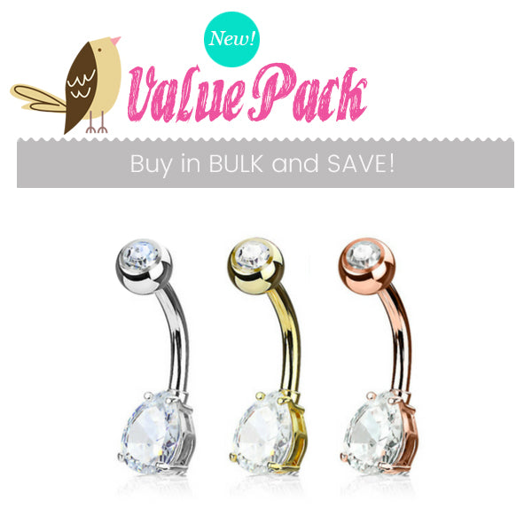 VALUE PACK 3 X Mixed Material Teardrop Solitaire Belly Bars - Basic Curved Barbell. Navel Rings Australia.