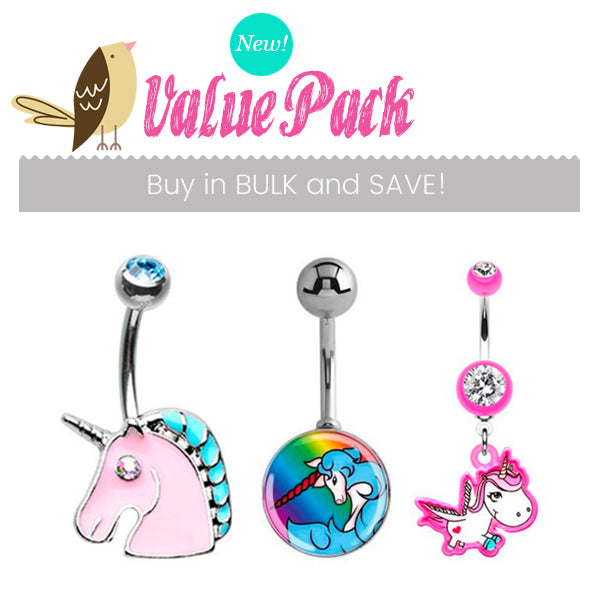Unicorn Party Pack !! 3 X Cute Belly Bars - Mixed. Navel Rings Australia.