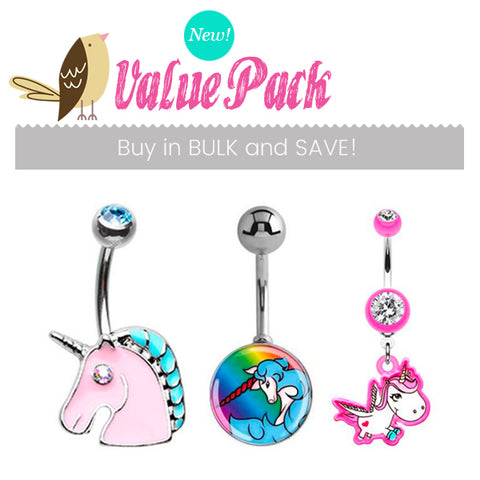 Mixed. Quality Belly Rings. Unicorn Party Pack !! 3 X Cute Belly Bars