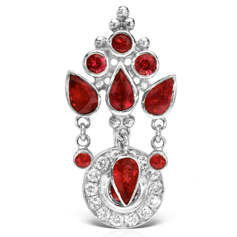 18K White Gold Ruby MT Ultra Crown and Ice Pave Top Dangle Navel Ring - Reverse Top Down Belly Ring. Navel Rings Australia.