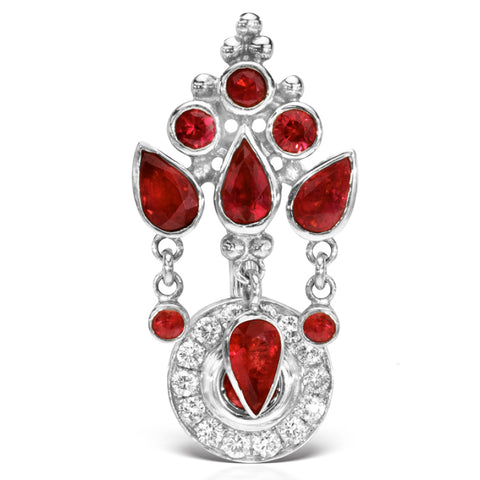 Reverse Top Down Belly Ring. Cute Belly Rings. 18K White Gold Ruby MT Ultra Crown and Ice Pave Top Dangle Navel Ring