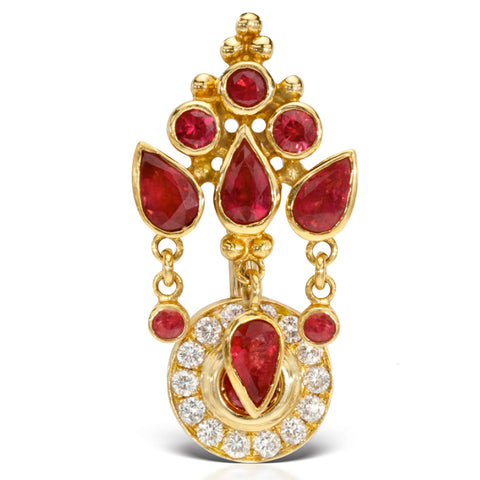 Reverse Top Down Belly Ring. Quality Belly Bars. 18K Yellow Gold Ruby MT Ultra Crown and Ice Pave Top Dangle Navel Ring
