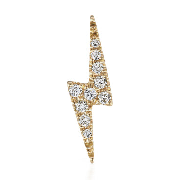 Authentic Lightning Bolt Diamond Earring by Maria Tash in 14K Gold. Flat Stud. - Earring. Navel Rings Australia.