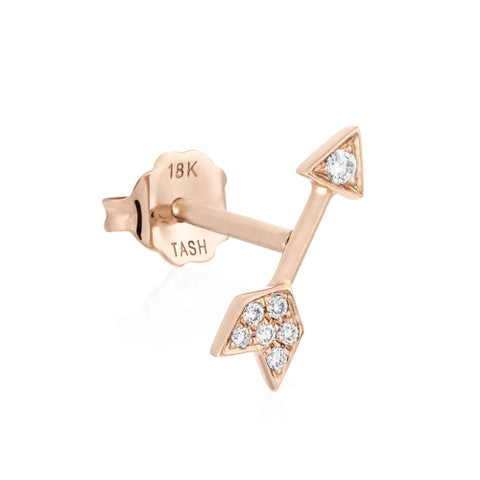 Diamond Arrow Earring by Maria Tash in 14K Rose Gold. Butterfly Stud.
