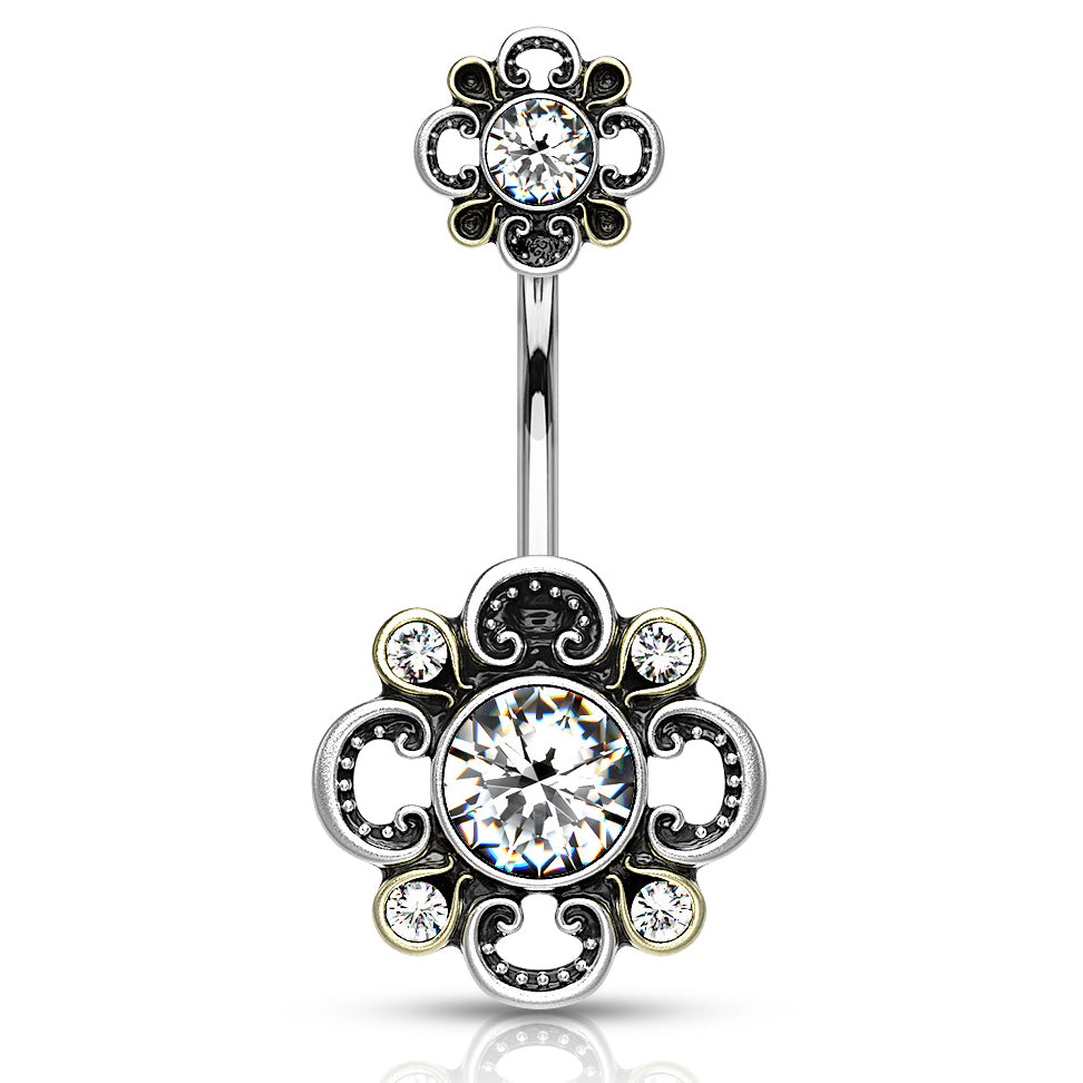 Fixed (non-dangle) Belly Bar. Shop Belly Rings. Boho Bloomer Belly Bar