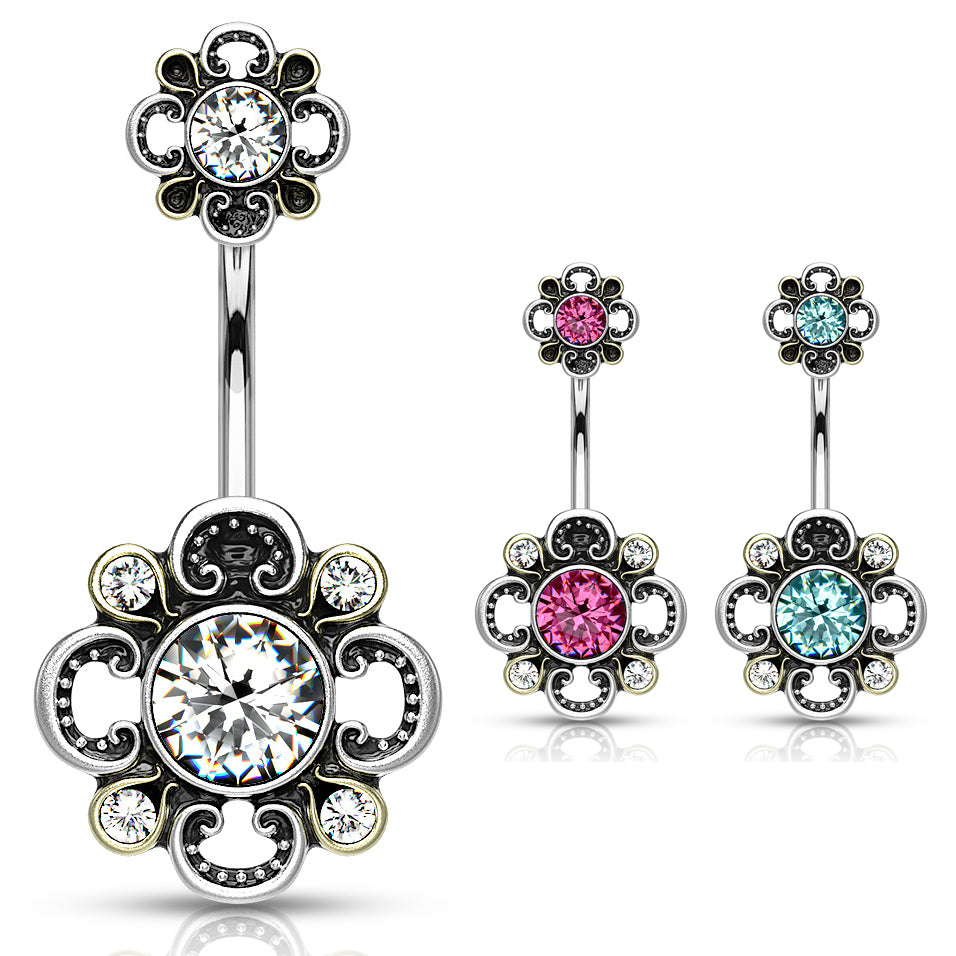 Boho Bloomer Belly Bar - Fixed (non-dangle) Belly Bar. Navel Rings Australia.