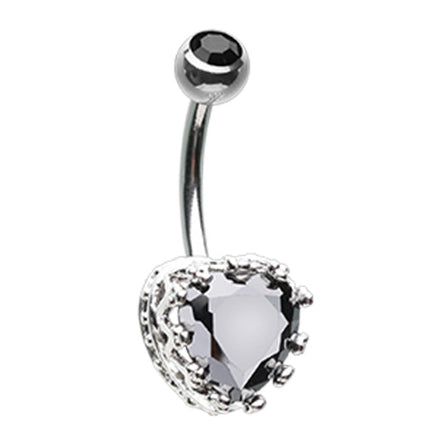 Black Vintage élaborer Heart Belly Bar