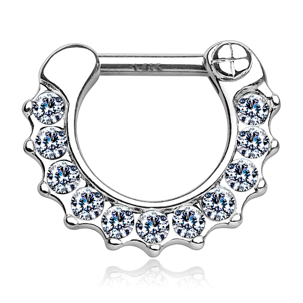 Wave Pave Septum Clicker Hoop in White Gold - Septum. Navel Rings Australia.