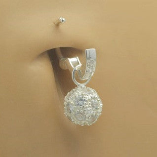 TummyToys® Cubic Zirconia Disco Ball Swinger - TummyToys® Swinger Charm. Navel Rings Australia.