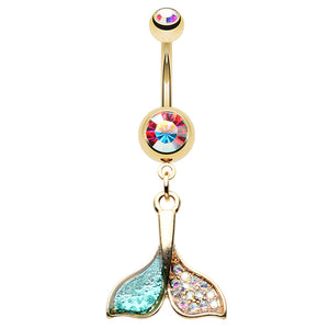 Orca Whale Tail Belly Ring - Dangling Belly Ring. Navel Rings Australia.