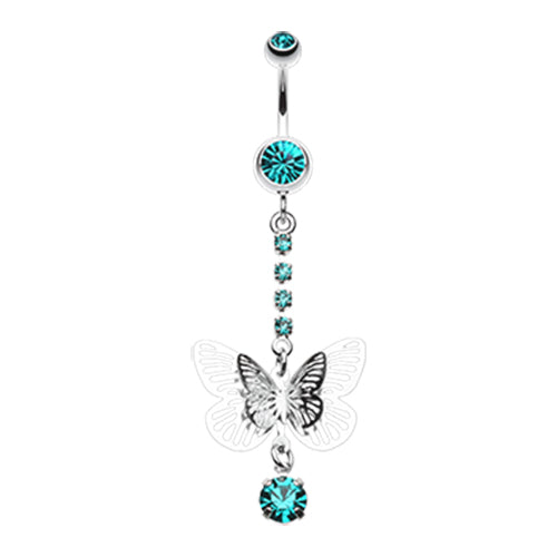 Dangling Belly Ring. Quality Belly Rings. Whispering Spring Butterfly Belly Bar