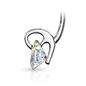 Dangling Belly Ring. Cute Belly Rings. 14K White Gold ViVi Triangle Belly Bar
