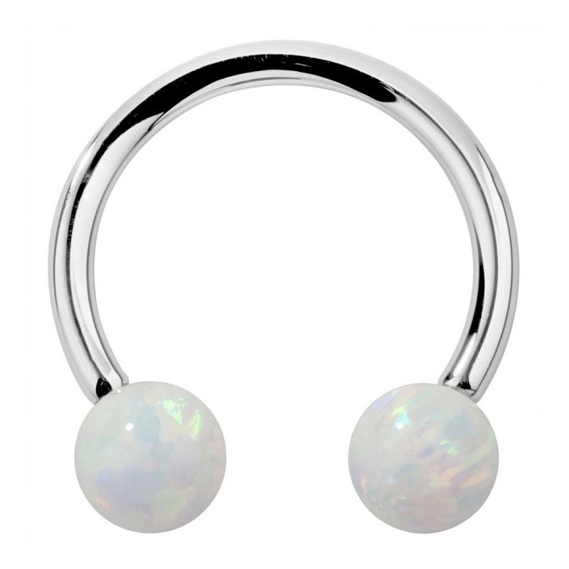 Circular Barbell / Horse Shoe. High End Belly Rings. 14K White Gold Opal Circular Barbells