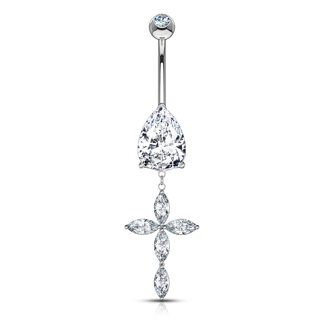 14K White Gold Marquise Set Cross Belly Bar - Dangling Belly Ring. Navel Rings Australia.