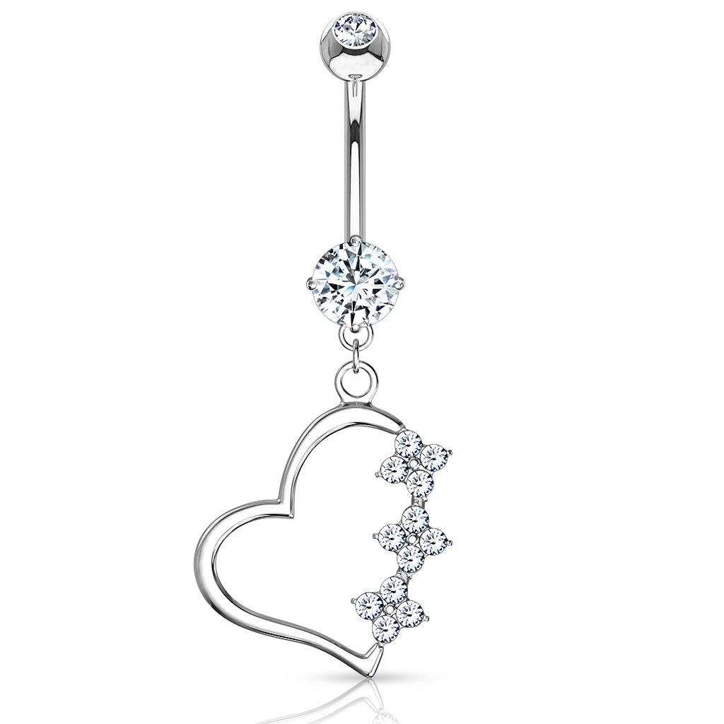 Diamanté Heart Belly Dangle in 14K White Gold - Dangling Belly Ring. Navel Rings Australia.
