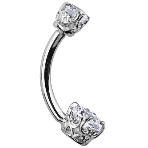 14K White Gold Princess Cut Navel Bar