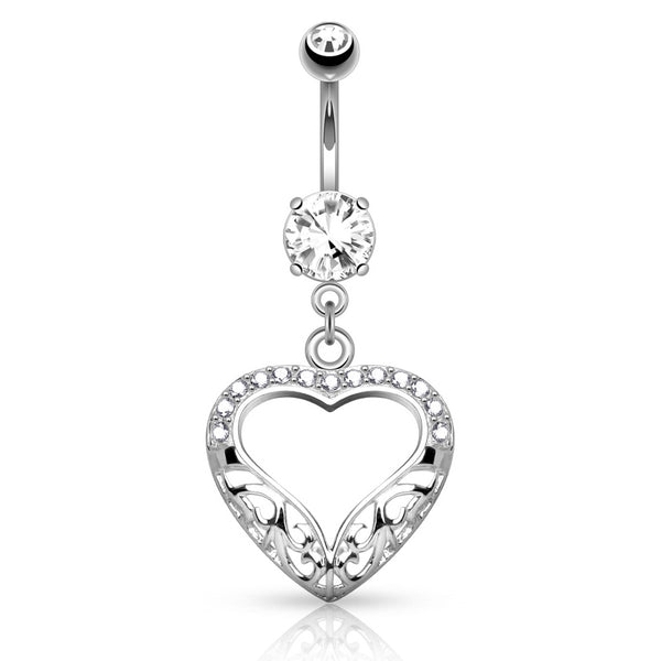 Gold Belly Rings 14K White Gold Dangling Love Heart Belly Ring