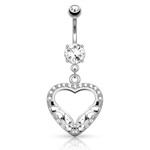 Dangling Belly Ring. Belly Rings Australia. 14k White Gold Filigree Heart Belly Button Ring
