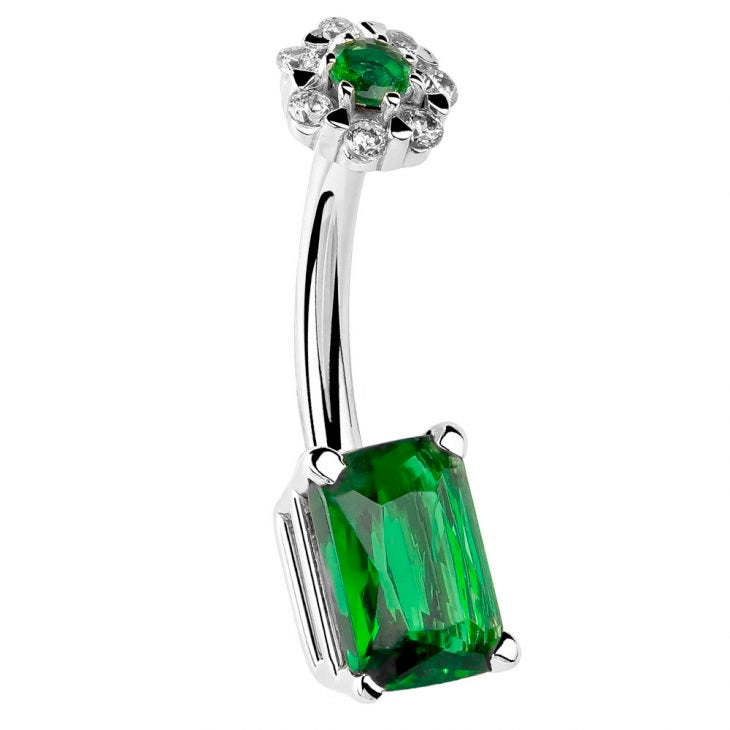 14K White Gold Emerald and Flower Cut Belly Bar - Fixed (non-dangle) Belly Bar. Navel Rings Australia.
