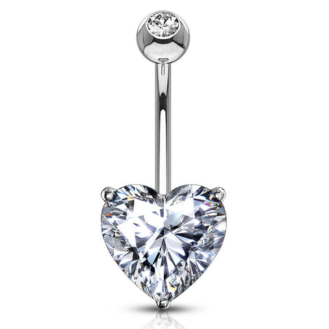Classic Prong Heart Belly Ring in 14K White Gold - Fixed (non-dangle) Belly Bar. Navel Rings Australia.