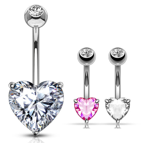Fixed (non-dangle) Belly Bar. Belly Bars Australia. Classic Prong Heart Belly Ring in 14K White Gold