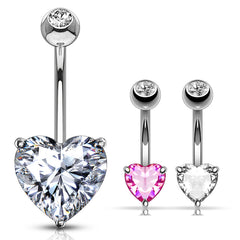 Classic Prong Heart Belly Ring in 14K White Gold