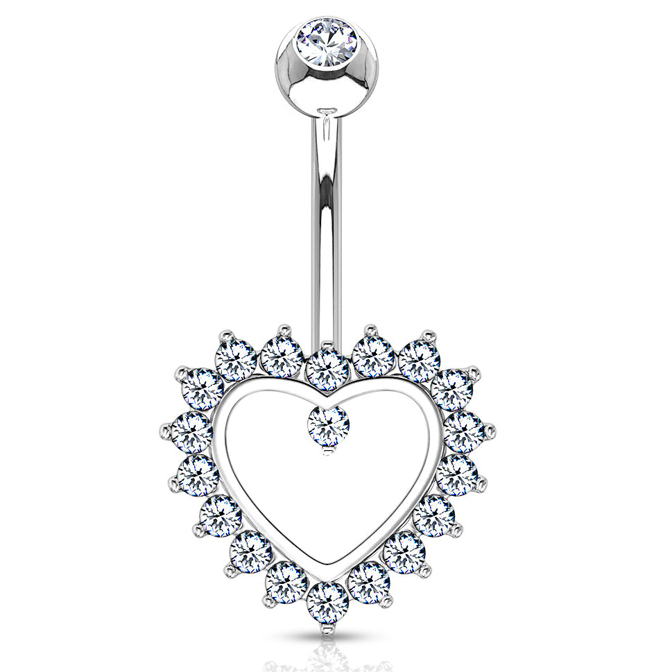 Taji Paved Heart Belly Ring in 14K White Gold - Fixed (non-dangle) Belly Bar. Navel Rings Australia.