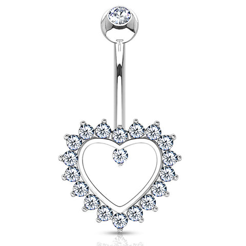Fixed (non-dangle) Belly Bar. Buy Belly Rings. Taji Paved Heart Belly Ring in 14K White Gold