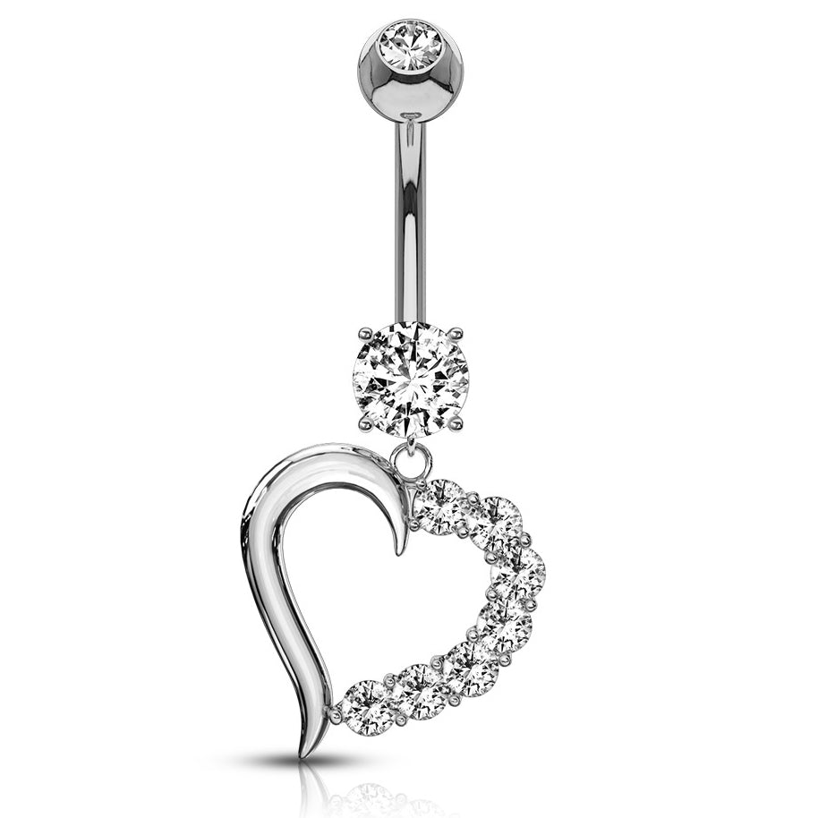 14K White Gold CZ Heart Navel Bar - Dangling Belly Ring. Navel Rings Australia.