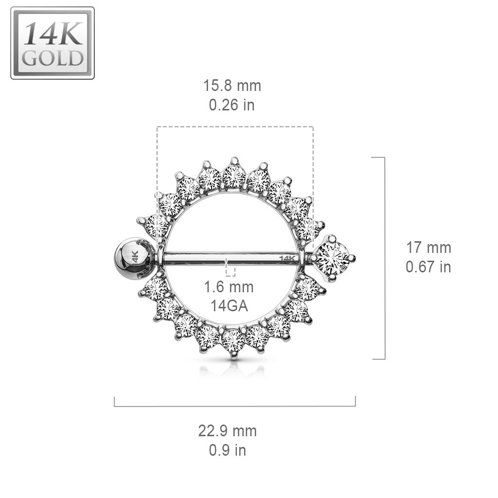 Nipple Ring. Quality Belly Bars. 14K White Gold Sunburst Nipple Ring