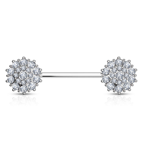 Nipple Ring. Buy Belly Rings. 14K White Gold Glitz Nips Nipple Ring