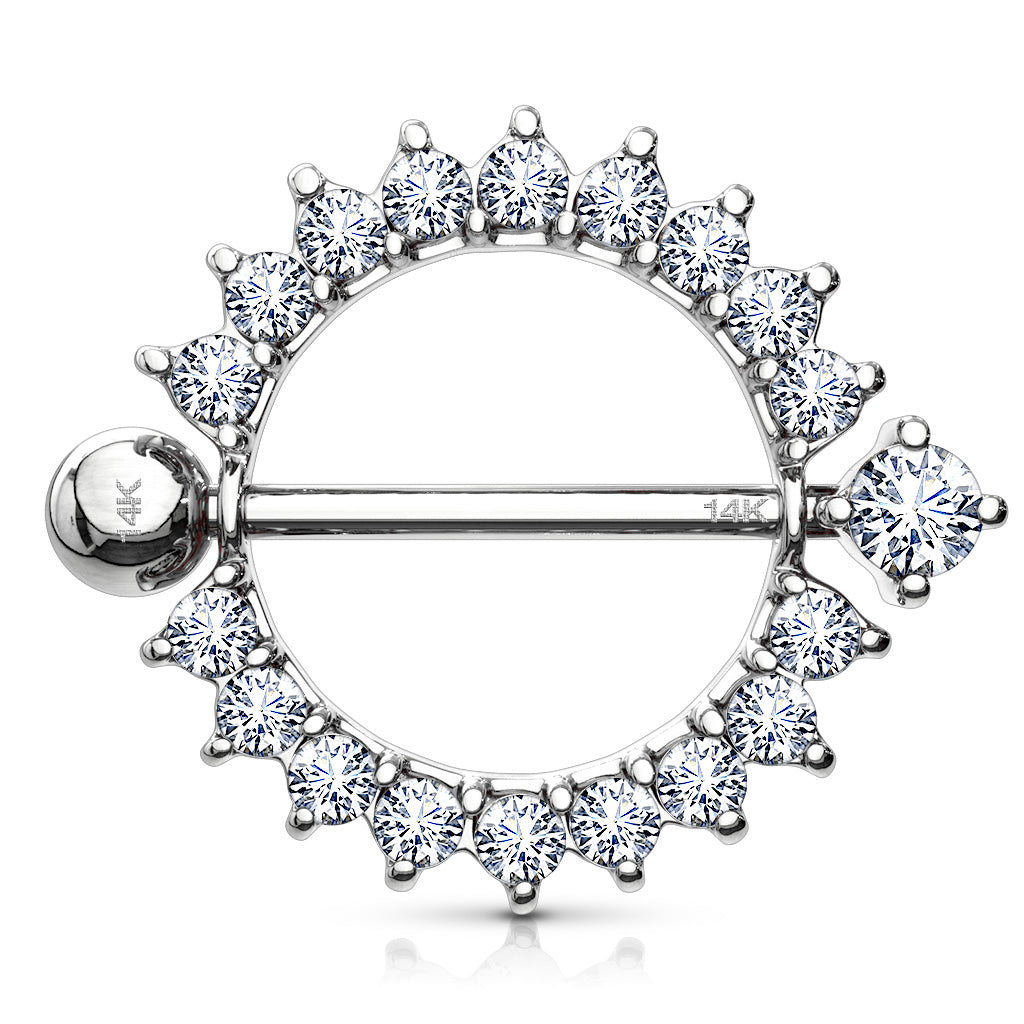 14K White Gold Sunburst Nipple Ring - Nipple Ring. Navel Rings Australia.