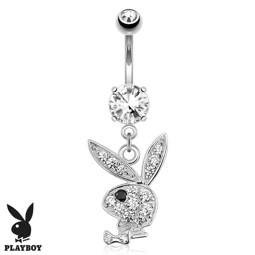 Official Playboy Dangly 14K White Gold Belly Ring - Dangling Belly Ring. Navel Rings Australia.