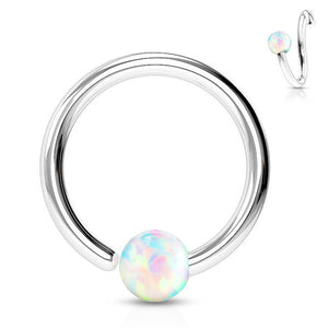 One End Opal Captive Belly Rings - Captive Belly Ring. Navel Rings Australia.