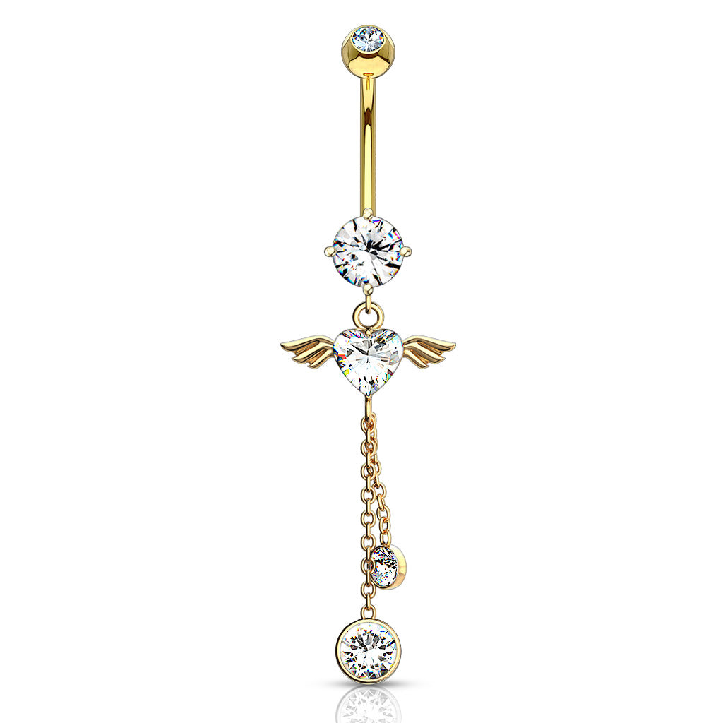 Gabriel Angel Heart 14K Gold Belly Bar - Dangling Belly Ring. Navel Rings Australia.