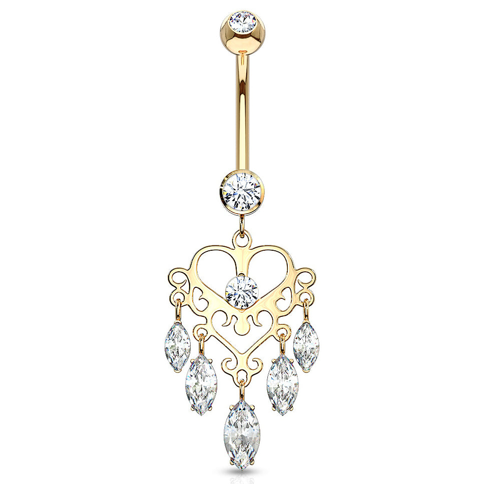 14K Gold Marquise Heart Chandelier - Dangling Belly Ring. Navel Rings Australia.