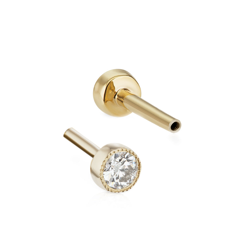 Threaded 2.5mm Diamond Backing in Yellow Gold by Maria Tash - Earring. Navel Rings Australia.