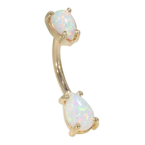 Basic Curved Barbell. Navel Rings Australia. 14K Gold Teardrop Opal Belly Ring