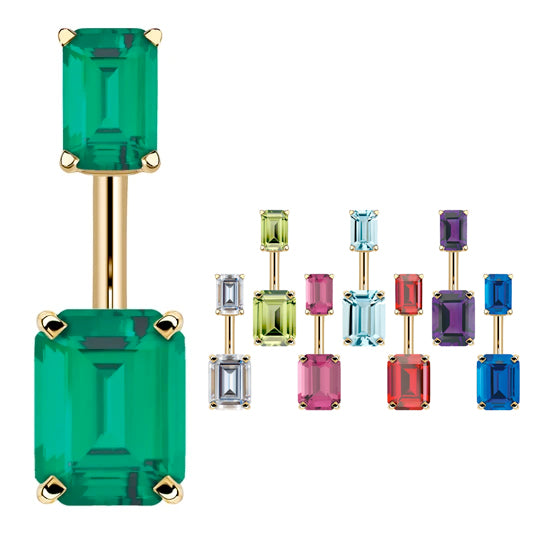 14K Yellow Gold Emerald Cut Belly Rings - Basic Curved Barbell. Navel Rings Australia.
